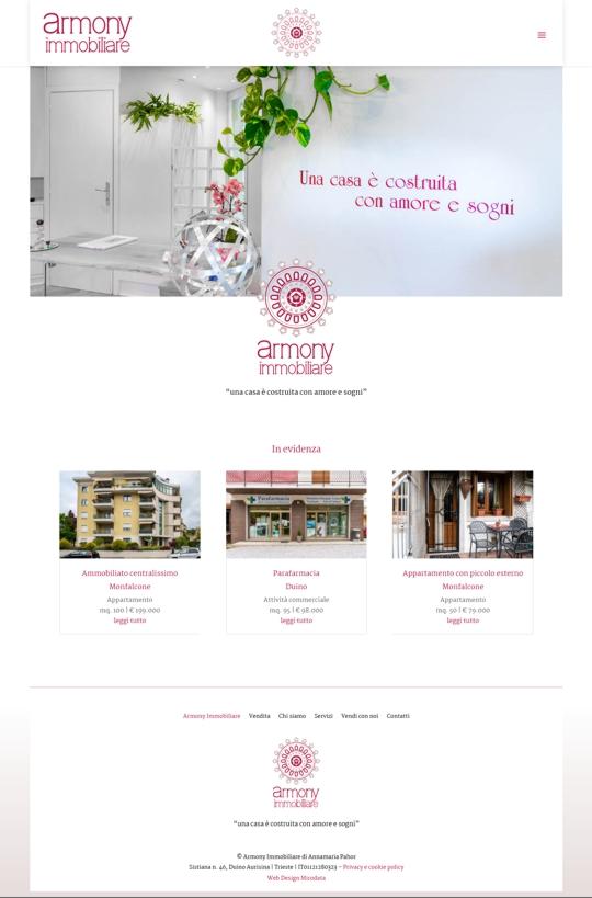 Realizzazione sito web Armony Immobiliare